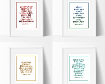 4 PRINTS | God's Promises | Wall Art | Bible Verse | Hand Lettered