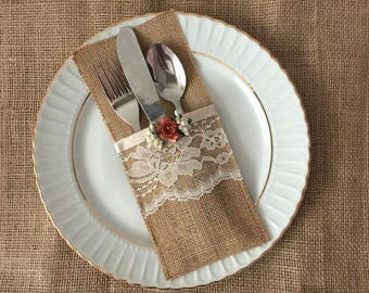 10 burlap and lace silverware holders