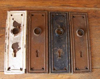 Antique Shabby Chic Door Plates (set Of 4)Antique Door Hardware.Door Knob
