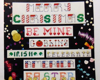 """Counted Cross Stitch """"Holiday Alphabets""""Christmas 4th of July Easter 1994"""