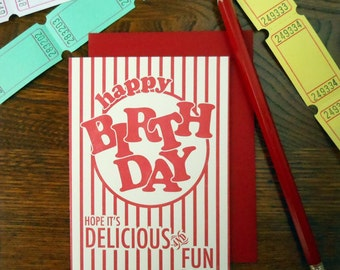 letterpress popcorn package happy birthday greeting card hope it's delicious & fun red stripes