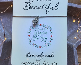 "Hamsa Palm String Bracelet on ""Hello Beautiful"" quote card lucky madebygreenberry wish bracelet"