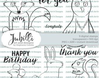 Woodland Animal Digital Stamp Set, Lineart Forest Digi, PS Brushes, Wildwood digi, Owl Digi, Forest digi, Wildlife Digi, Wildwood digital