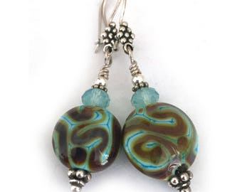Avant Garde Lampwork Earrings Earthy Jewelry - Sterling Silver