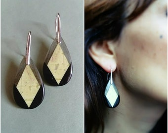 3 Labradorite, Serpentine, Obsidian gemstone earrings