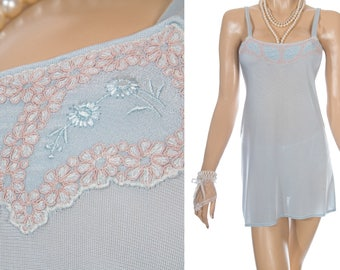 Authentic slinky silky soft aqua nylon and contrasting coffee lace and floral embroidery detail 1940's vintage camisole mini slip - PL1927