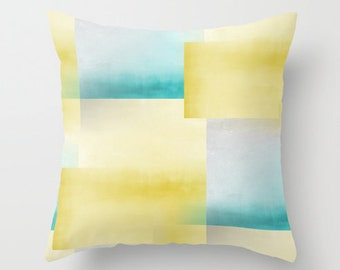 Turquoise Pillow Cover Yellow Pillow Cover Accent Pillow Cover Throw Pillow Cover Abstract Art Home Decor Yellow Decor Cushion Cover