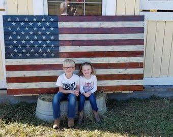 "80""X46"" Pallet American Flag, Pallet Flag, Rustic American Flag, Wooden American Flag, Rustic Wood Flag, American Flag, Home Decor"