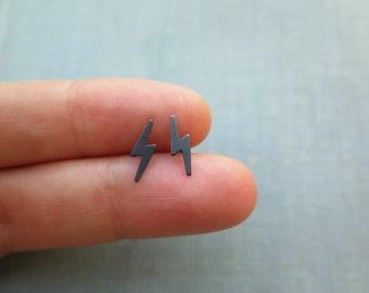Lightning bolt black earrings, Mens earrings, Tiny stud earrings sterling silver, Mens jewelry, Gift for him, Gift for boyfriend, Dad gifts.