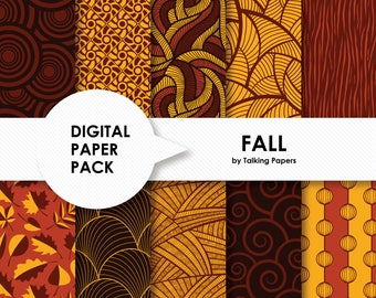 Digital Paper Brown - Digital Paper Pack - Fall Pattern Backgrounds - Autumn Scrapbook Paper - Printable Paper - 12x12 - Instant Download