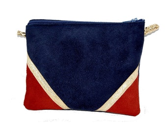 Wallet, make-up pouch, mini bag in Blue Suede Navy and brick, Golden - after the beach graphic lines