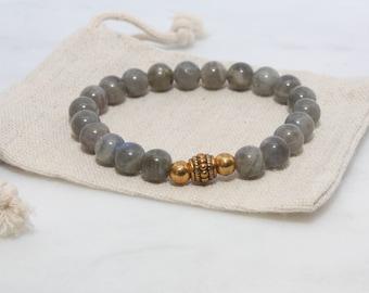 Labradorite Bracelet - Boho Bracelet, Vegan Bracelet, Gifts for Her, Labradorite Beaded Bracelet, Gemstone Bracelet