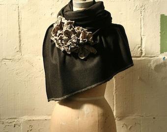 Gray wool ruffle scarf Shawl, Wrap
