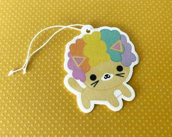 Afro Cat Rainbow Hair Air Freshener