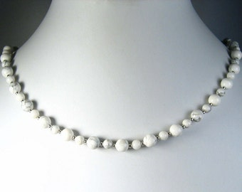 White Howlite Necklace Silver 18""