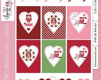 50%OFF Digital printable greeting card for Valentine's Day, Valentine clipart, Valentine pre-made cards, DIY Valentine, P116