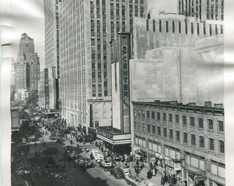 New York City Rockefeller Center street view antique photo