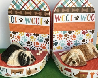 Hand Crafted Shih-Tzu Dog Bookends, Dog Bookends