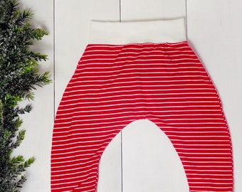 Red stripe baby pants, christmas baby, gift for baby, baby harem leggings, cloth diaper pants, striped baby pants, gender neutral toddler