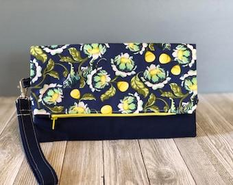 Foldover Clutch, Summer Clutch, Fabric Clutch, Women's Lightweight Clutch, Fun Print Clutch, Handmade Clutch