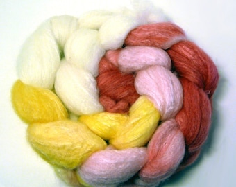 Handdyed Merino Wool /Bamboo Roving  - Queen Gertrude - white, pink, gold, red