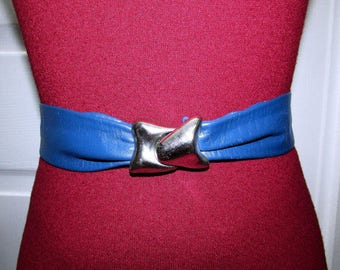Vintage Navy Blue Adjustable Leather Cinch Belt With Removable Buckle Size XS S M L