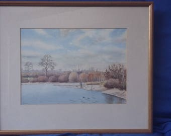 Original Large Watercolour View of Hatfield Forest Lake…..