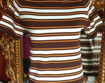 Vintage 1960's Dacron Brown and White Striped Mock Turtleneck Top