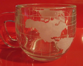 Globe Mugs, Nestle', Set of Two, Glass, Advertising Promotional Item, 1970's