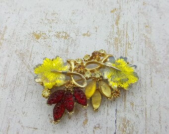 Florenza Leaves and Berries Brooch signed  Art Glass Brooch Ruby and Lemon