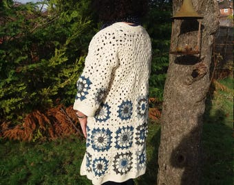 Stylish Granny Square Jacket/ cardigan /coat . will fit size large ready to post