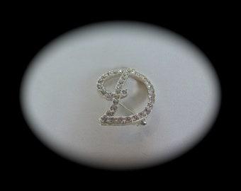 "Vintage Signed AVON Vintage Letter ""D"" Brooch/Pin, Clear Rhinestone Monogram Initial"
