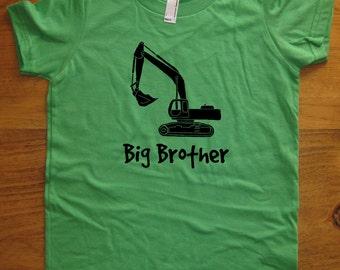 Big Brother Shirt - Kids Big Brother T Shirt - 5 Colors Available - Kids Big Brother Digger T shirt Sizes 2T, 4T, 6, 8, 10, 12 Gift Friendly