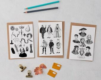 Shakespeare Greetings Cards, Birthday card, Hamlet, Shakespeare print, gift for her, gift for him, Tudor, Henry VIII, Kings, Costume,
