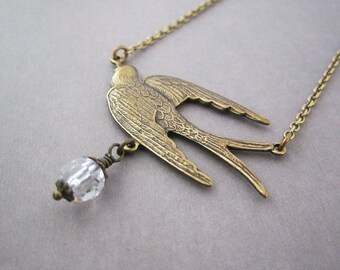 Flying Bird Necklace Victorian Jewelry Romantic For Her Clear Crystal Drop Delicate Chain Edwardian Jewelry Dainty Big Sparrow Antique Brass