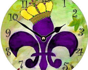 Crowned Purple Fleur de lis  Wall Clock  from my art