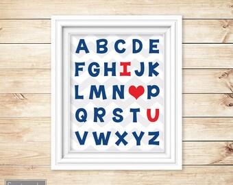 Alphabet I love You Navy Blue Red Nursery Wall Art Red Heart ABC's Boy's Chevron Printable 8x10 Digital JPG Instant Download (53)