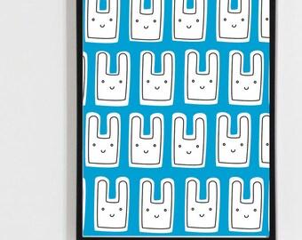 Printable art , Digital print rabbit