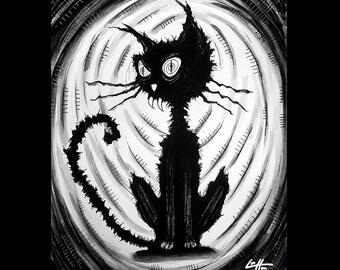 "Print 11x14"" - Big Black Cat - Halloween Cats Stray Spooky Alley Dark Art Pets Cute Animal Creepy Gothic Art Black and White Kittie Pop Art"