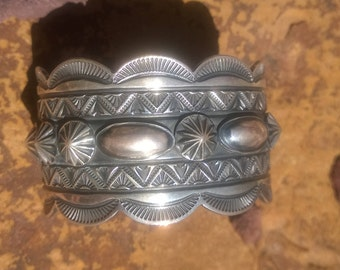 Intricate Sterling Silver Cuff Bracelet By Delbert Gordon From The 1990's
