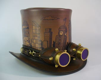 Sepia vintage style genuine leather Steampunk retro Top Hat with golden aviator goggles