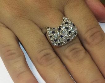 Modern sapphire aquamarine.925 Sterling silver ring