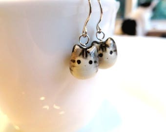 Cat Lover Gift Cat Lady Gift For Her Grey Tabby Cat Dangle Earrings Animal Ceramic Cat Jewelry Gift Tabby Cat Fat Cat Earring Cat Gift