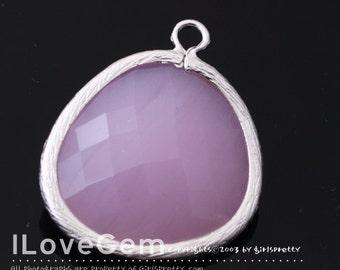 50% OFF Clearance// NP-1523 Matt Rhodium Plated, Pink, Glass, Big Pendant, 1pc / Framed glass, Glass pendant