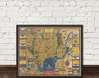 Map of New Haven (Connecticut) -  Illustrated map  - New Haven pictorial map - Fine reproduction