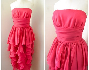 1950s style Fuschia strapless cocktail dress / sheer chiffon swags, Frank Usher label -  XS