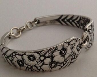 Spoon Bracelet, Ward Bouquet 1936, Sizes 6 to 9, Silveplate Bracelet, Vintage Bracelet, Silverware Jewelry, Spoon Jewelry