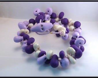 Collier perles violettes en Fimo