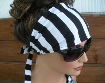 Womens Headband Fabric Headband Summer Fashion Accessories Women Headscarf Headwrap Yoga Headband in Black and White Stripes