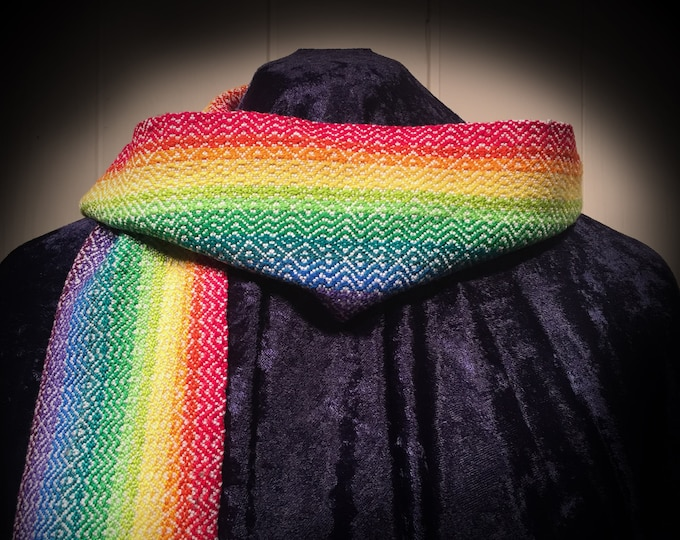 Featured listing image: Rainbow Scarf, Gay Pride Scarf, Hand Woven Scarf, Stole, Handmade Scarf, Handwoven Scarf, Fashion Scarf, Spring Scarf, Fashion Accessory